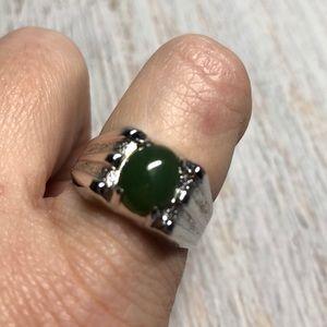 Vintage Silver Jade Silver Ring Size 10